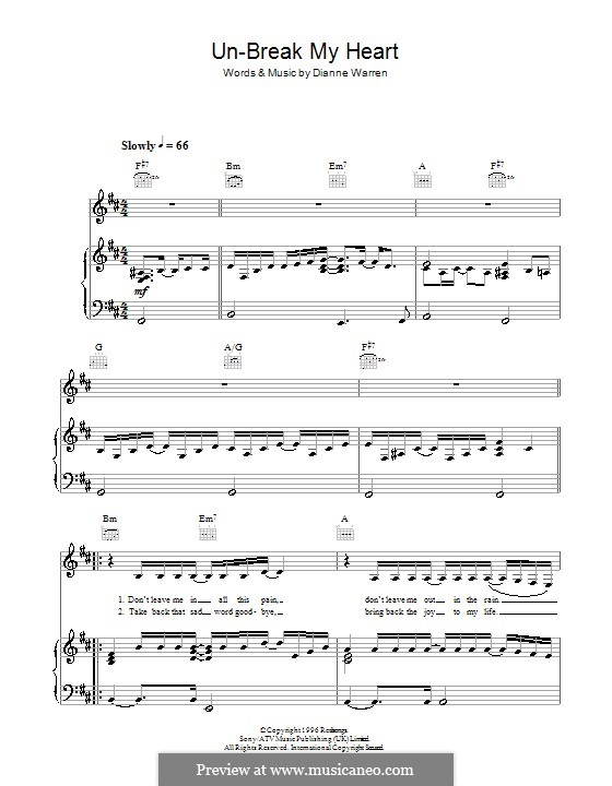 Un-Break My Heart (Toni Braxton): For voice and piano (or guitar) by Diane Warren