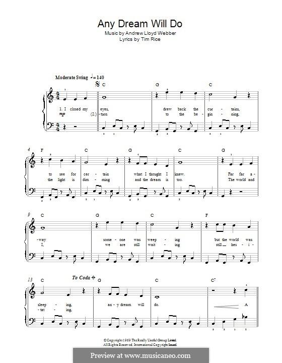 Any Dream Will Do: For easy piano (with lyrics) by Andrew Lloyd Webber