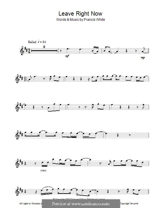 Leave Right Now (Will Young): For alto saxophone by Eg White