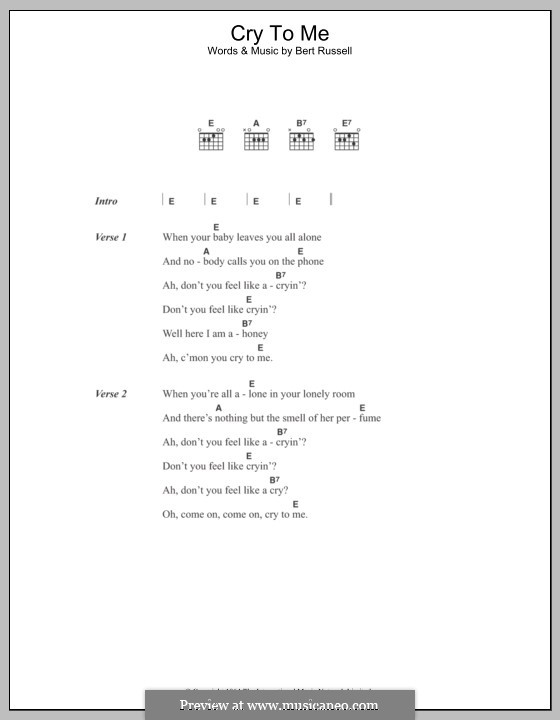 Cry to Me (Solomon Burke): Lyrics and chords by Bert Russell