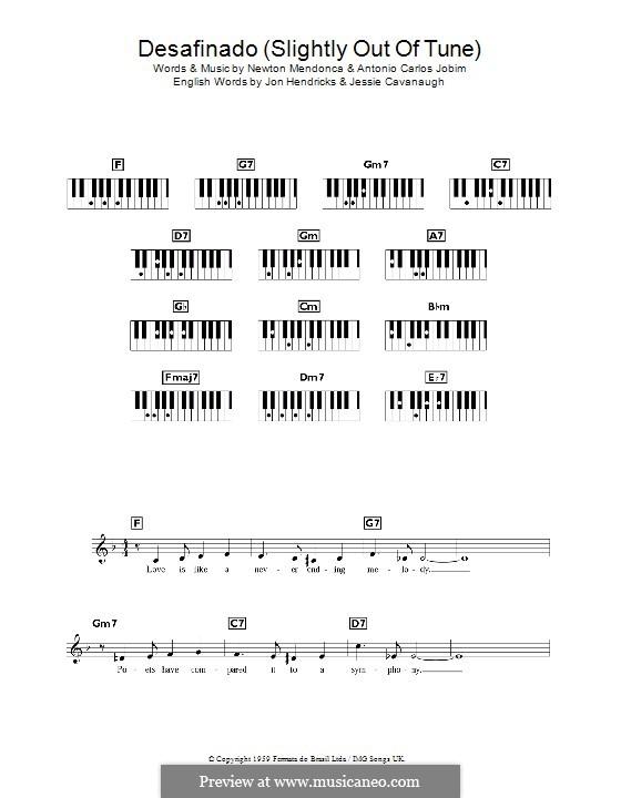 Desafinado (Slightly Out of Tune): For keyboard by Antonio Carlos Jobim