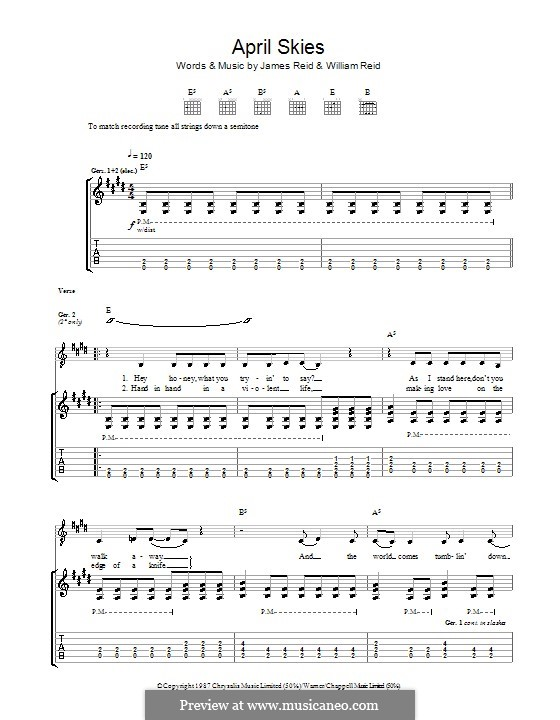 April Skies (The Jesus and Mary Chain): For guitar with tab by James Reid, William Reid