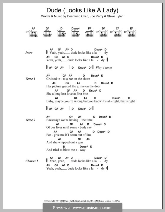 Dude (Looks Like a Lady): Lyrics and chords (Aerosmith) by Desmond Child, Joe Perry, Steven Tyler