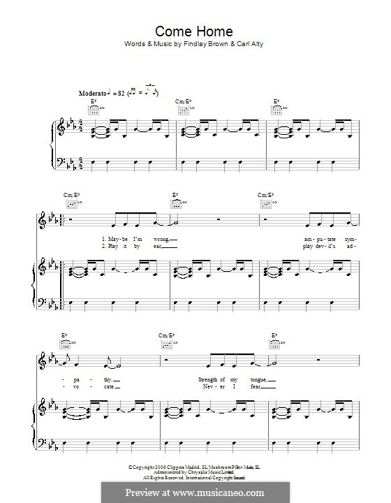 Come Home (Findlay Brown): For voice and piano (or guitar) by Carl Alty