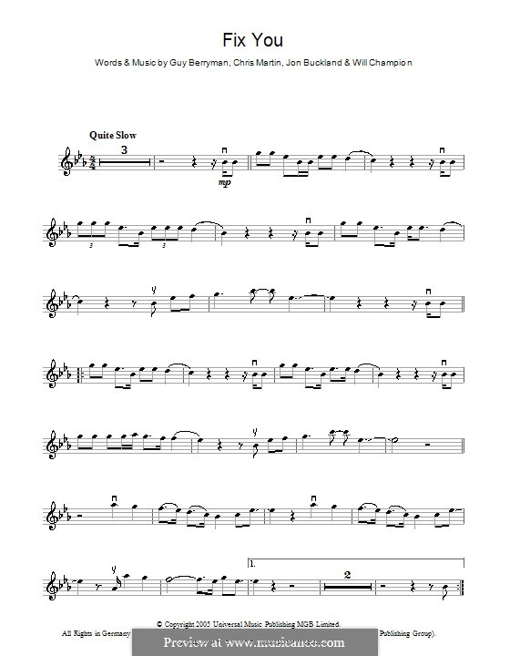Fix You (Coldplay): For violin by Chris Martin, Guy Berryman, Jonny Buckland, Will Champion