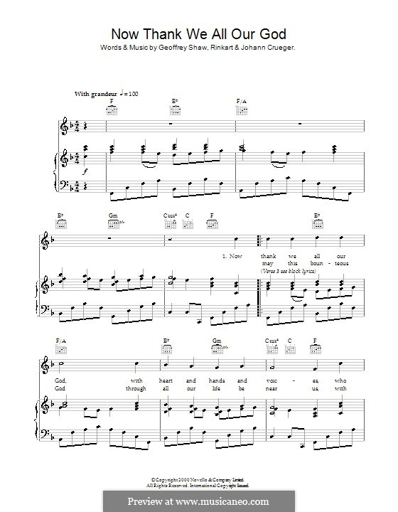 Now Thank We All Our God: For voice and piano (or guitar) by Johann Crüger