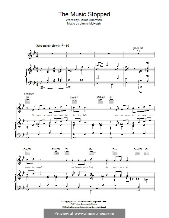 The Music Stopped (Frank Sinatra): For voice and piano (or guitar) by Jimmy McHugh