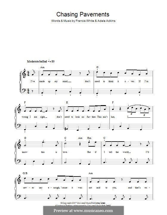 Chasing Pavements: For easy piano by Adele, Eg White