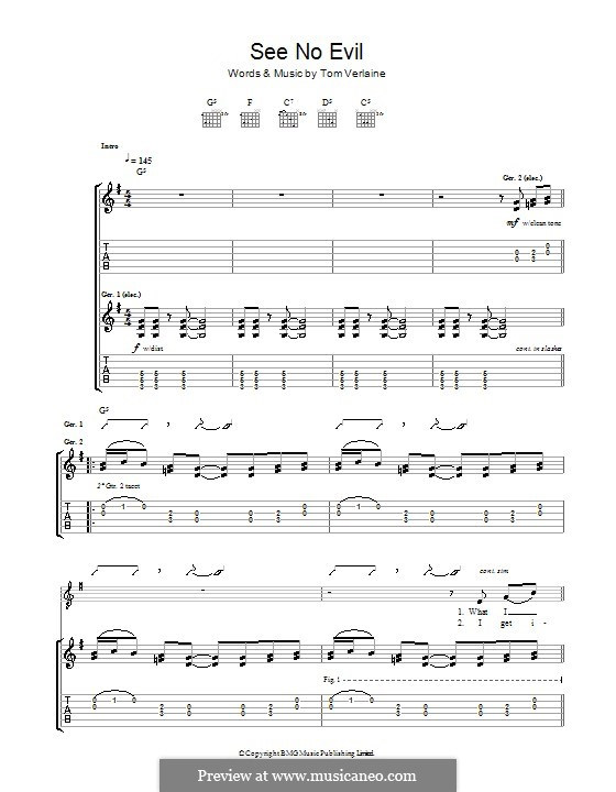 See No Evil (Television): For guitar with tab by Tom Verlaine