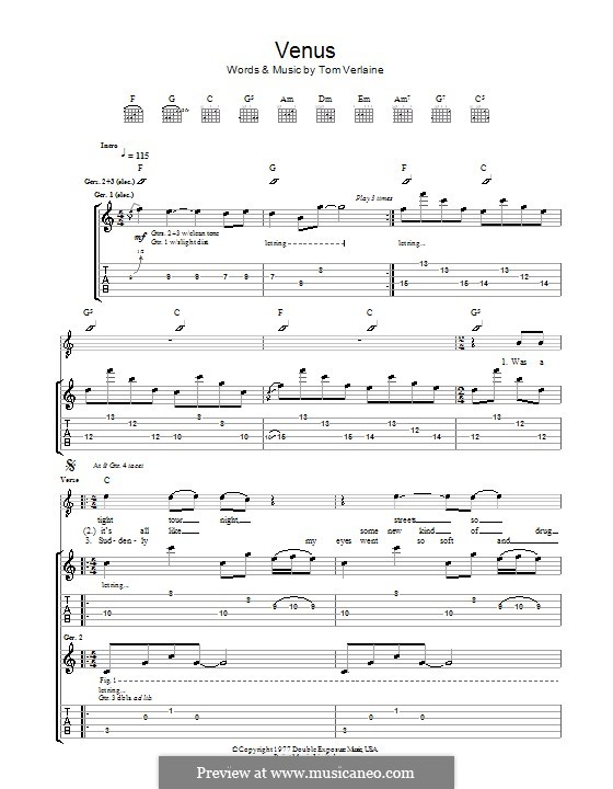 Venus (Television): For guitar with tab by Tom Verlaine