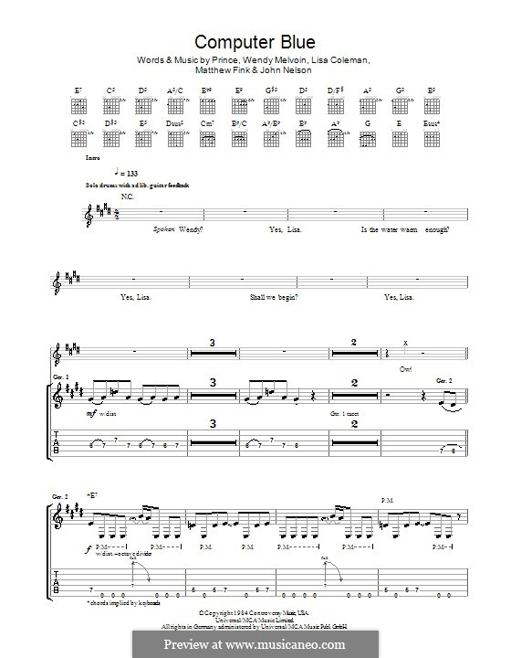 Computer Blue (Prince): For guitar with tab by John Nelson, Lisa Coleman, Matthew Fink, Wendy Melvoin
