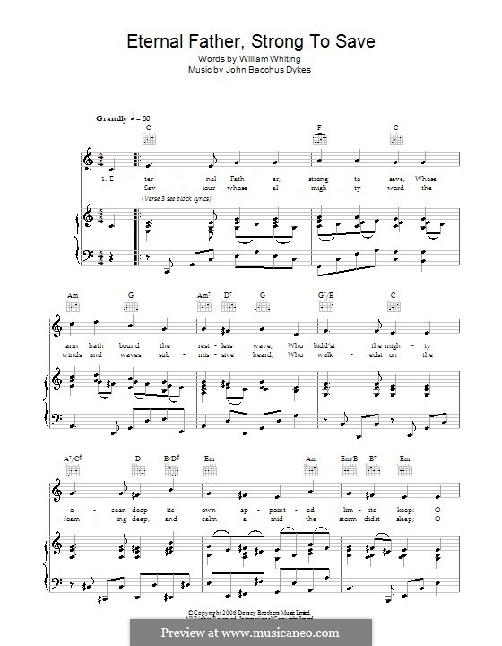Eternal Father, Strong to Save: For voice and piano or guitar (C Major) by John Bacchus Dykes