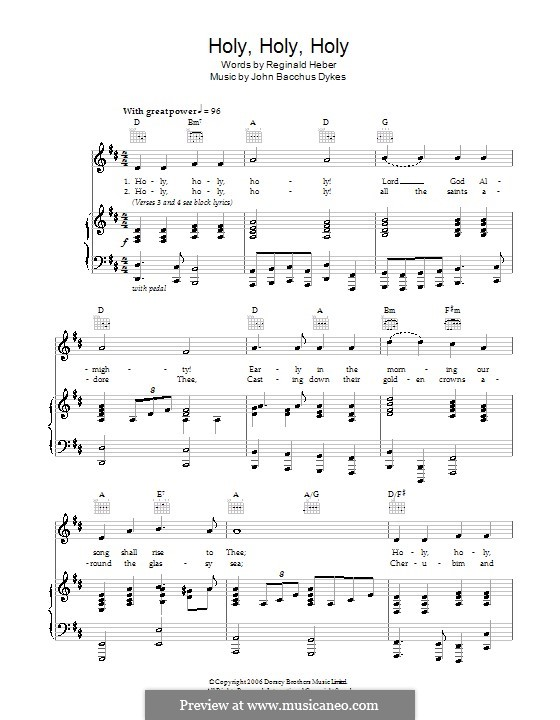 Holy, Holy, Holy! Lord God Almighty: For voice and piano (or guitar) by John Bacchus Dykes