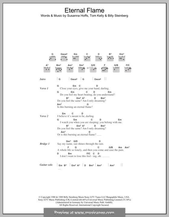 Eternal Flame: Lyrics and chords by Billy Steinberg, Susanna Hoffs, Tom Kelly