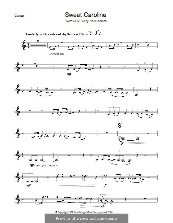 Sweet Caroline: For clarinet by Neil Diamond