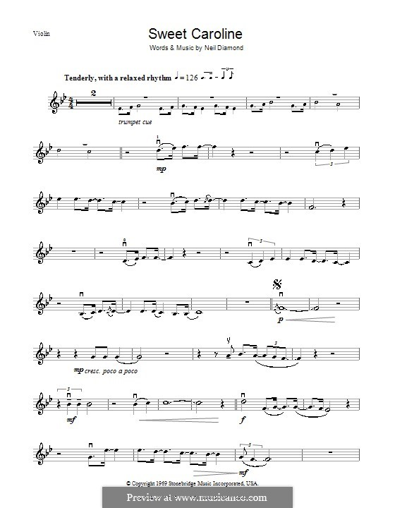 Sweet Caroline: For violin by Neil Diamond