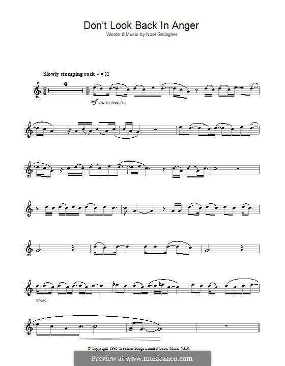 Don't Look Back in Anger (Oasis): For flute by Noel Gallagher
