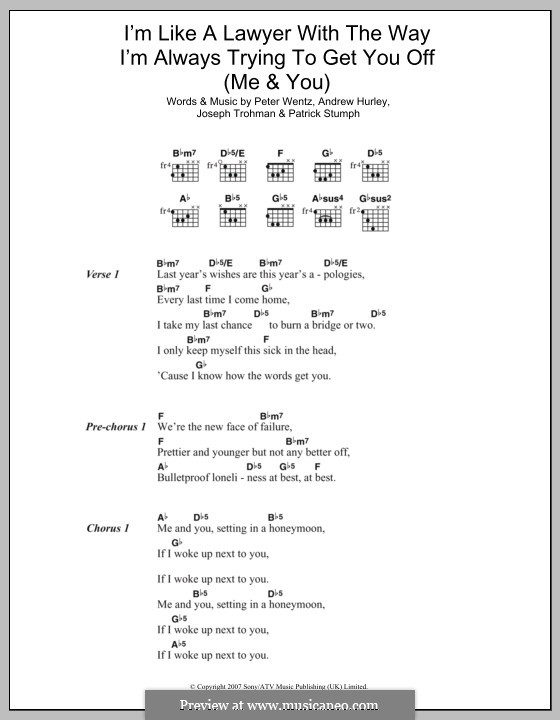 Lyrics and chords (Fall Out Boy)
