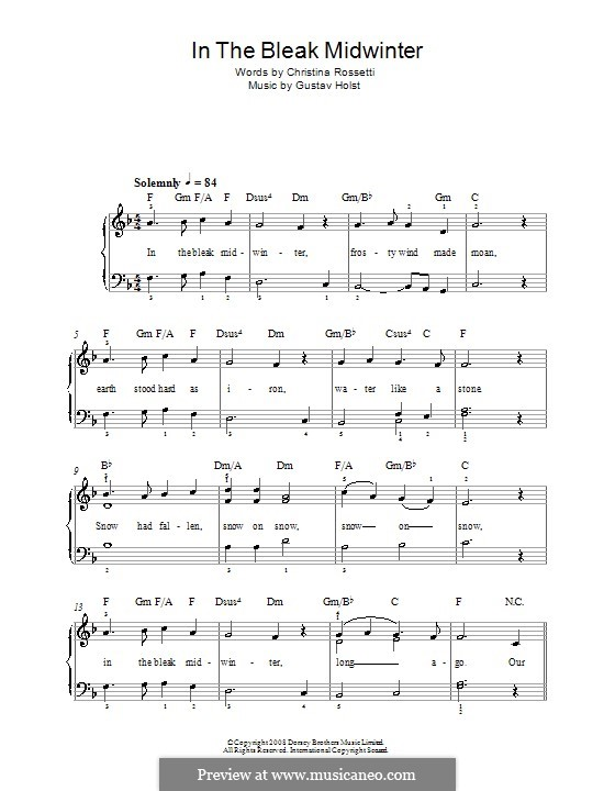 In the Bleak Midwinter: For easy piano by Gustav Holst