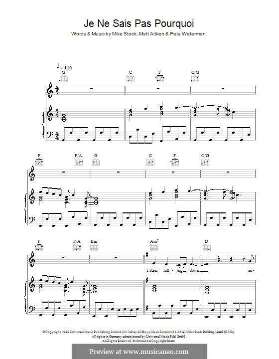 Je Ne Sais Pas Pourquoi (Kylie Minogue): For voice and piano (or guitar) by Matt Aitken, Mike Stock, Pete Waterman