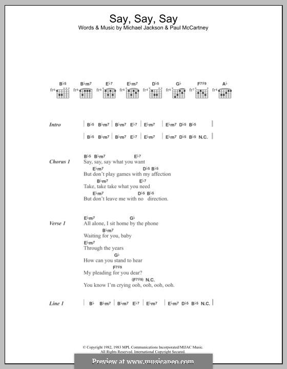Say Say Say: Lyrics and chords by Michael Jackson, Paul McCartney