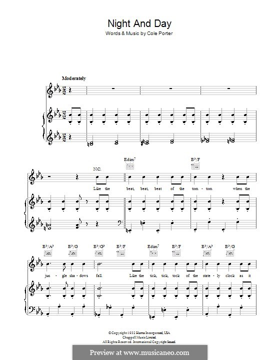 Night and Day (Frank Sinatra): For voice and piano (or guitar) by Cole Porter