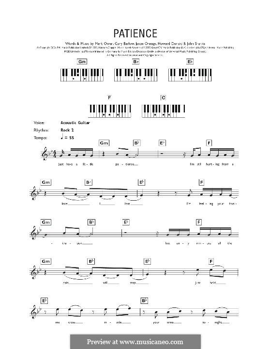 Patience (Take That): For keyboard by Gary Barlow, Howard Donald, Jason Orange, John M Shanks, Mark Owen