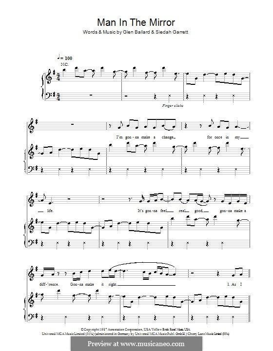 Man in the Mirror: For voice and piano or guitar (Michael Jackson) by Glen Ballard, Siedah Garrett