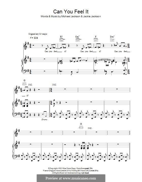 Can You Feel It (The Jacksons): For voice and piano (or guitar) by Jackie Jackson, Michael Jackson