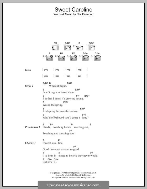 Sweet Caroline: Lyrics and chords by Neil Diamond