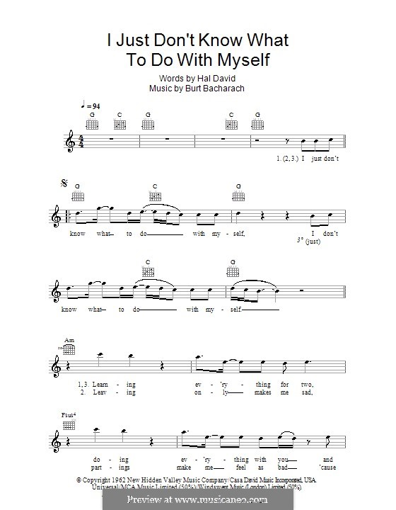I Just Don't Know What to Do With Myself: Melody line, lyrics and chords (The White Stripes) by Burt Bacharach