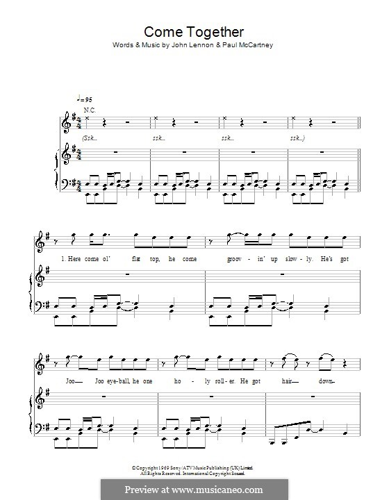 Come Together (The Beatles): For voice and piano or guitar (E Minor) by John Lennon, Paul McCartney