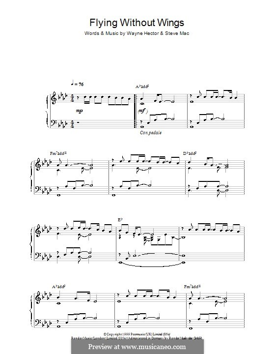 Flying without Wings (Westlife): For piano by Steve Mac, Wayne Anthony Hector