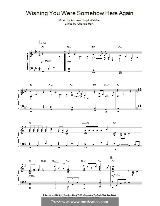 Wishing You Were Somehow Here Again: For piano by Andrew Lloyd Webber