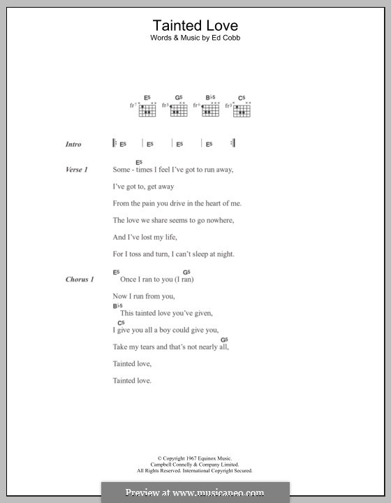 Tainted Love (Marc Almond & Soft Cell): Lyrics and chords by Ed Cobb