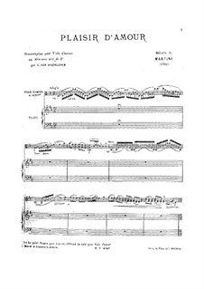 Plaisir d'Amour (The Joys of Love): For viola d'amore (or viola) and piano by Jean Paul Egide Martini