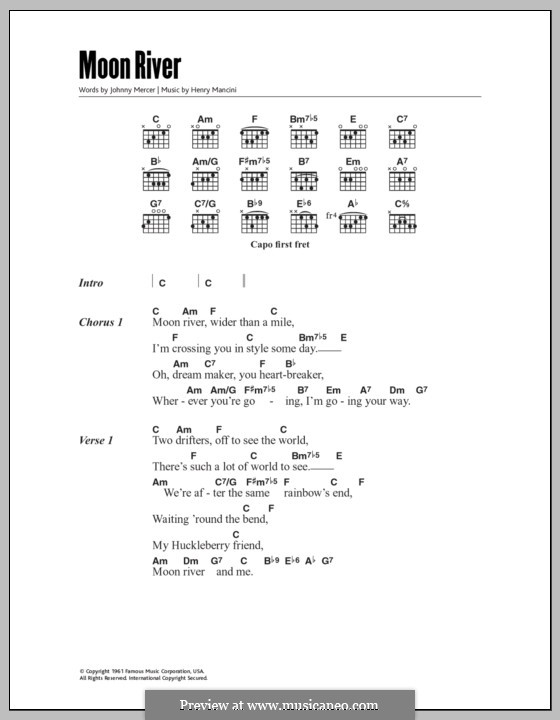 Moon River (from Breakfast at Tiffany's): Lyrics and chords by Henry Mancini