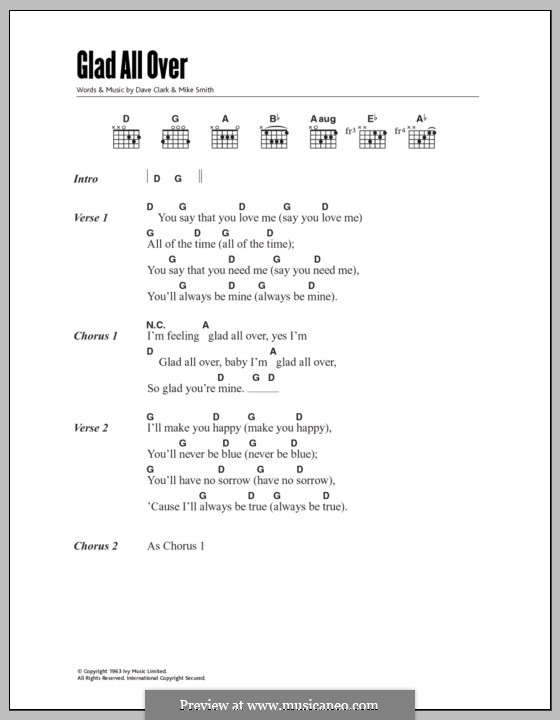Glad All Over (The Dave Clark Five): Lyrics and chords by Dave Clark, Larry Michael  Smith