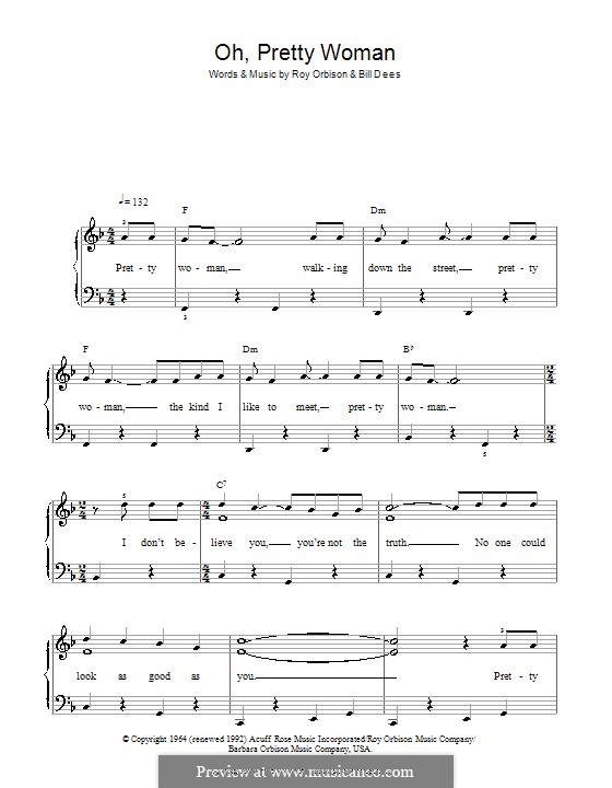 Oh, Pretty Woman by B. Dees, R. Orbison - sheet music on MusicaNeo