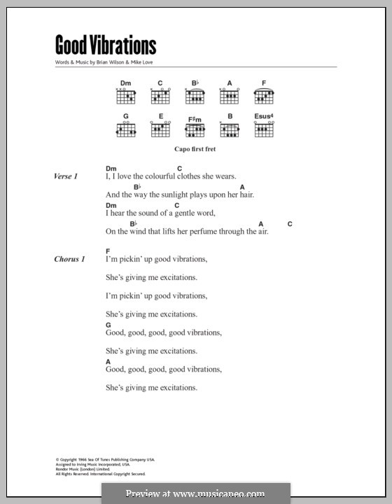 Good Vibrations (The Beach Boys): Lyrics and chords by Brian Wilson, Mike Love
