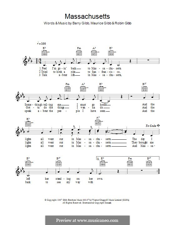 Massachusetts (The Lights Went Out): Melody line, lyrics and chords (The Bee Gees) by Barry Gibb, Maurice Gibb, Robin Gibb
