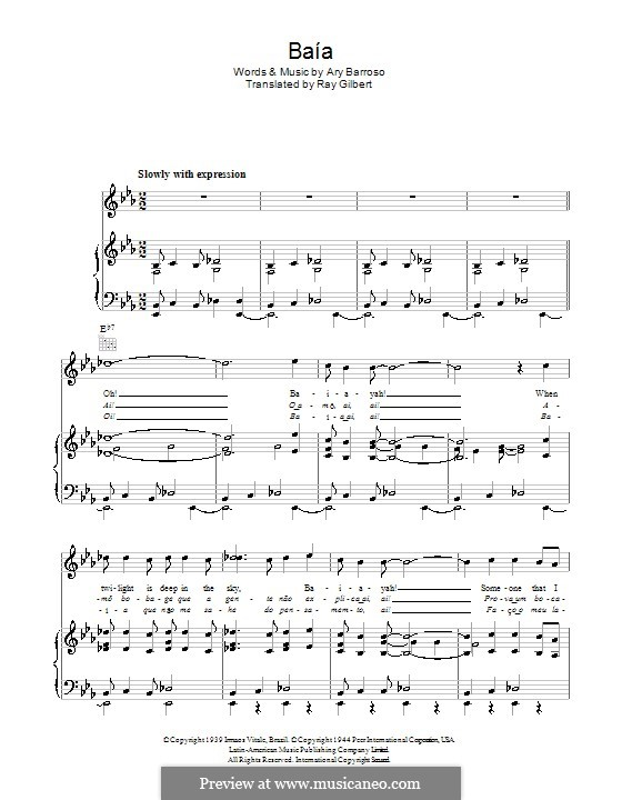 Baia: For voice and piano (or guitar) by Ary Barroso