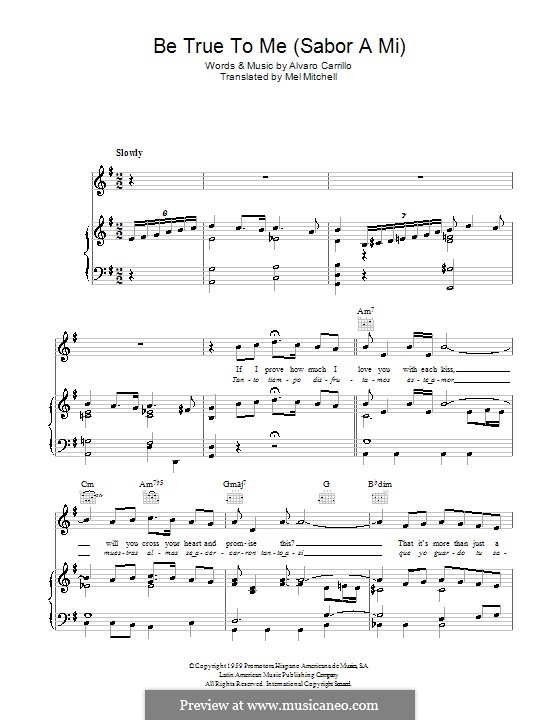 Sabor A Mi Be True To Me For Voice And Piano Or: Sabor A Mi Sheet Music At Alzheimers-prions.com