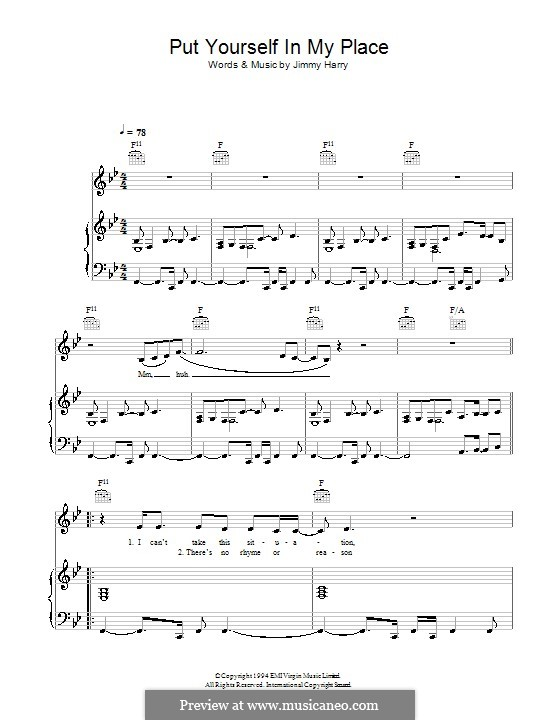 Put Yourself in My Place (Kylie Minogue): For voice and piano (or guitar) by Jimmy Harry
