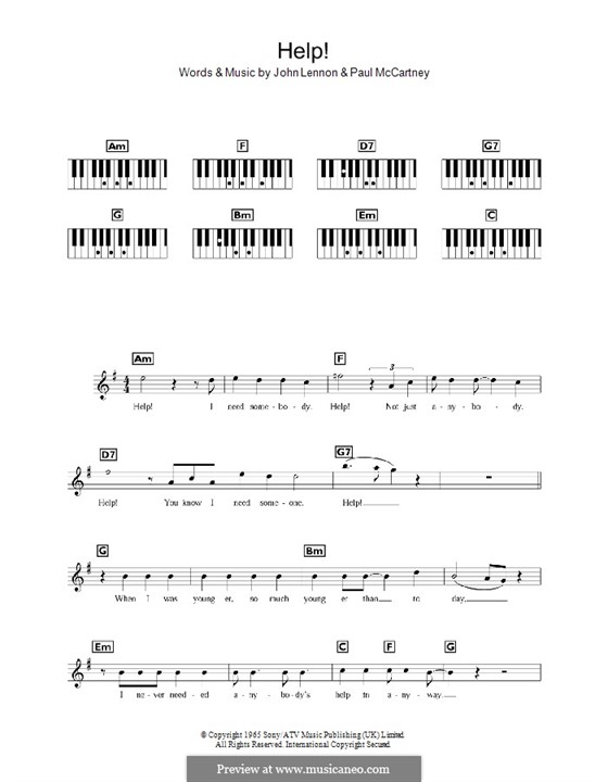 Help! (The Beatles): For keyboard by John Lennon, Paul McCartney