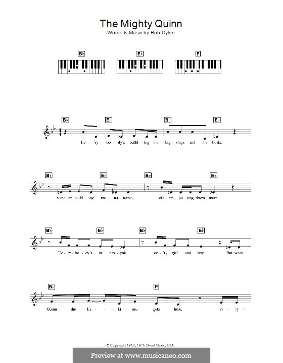 Quinn the Eskimo (The Mighty Quinn): For keyboard by Bob Dylan