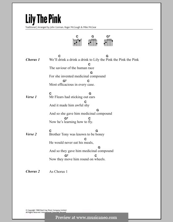 Lily the Pink: Lyrics and chords by folklore