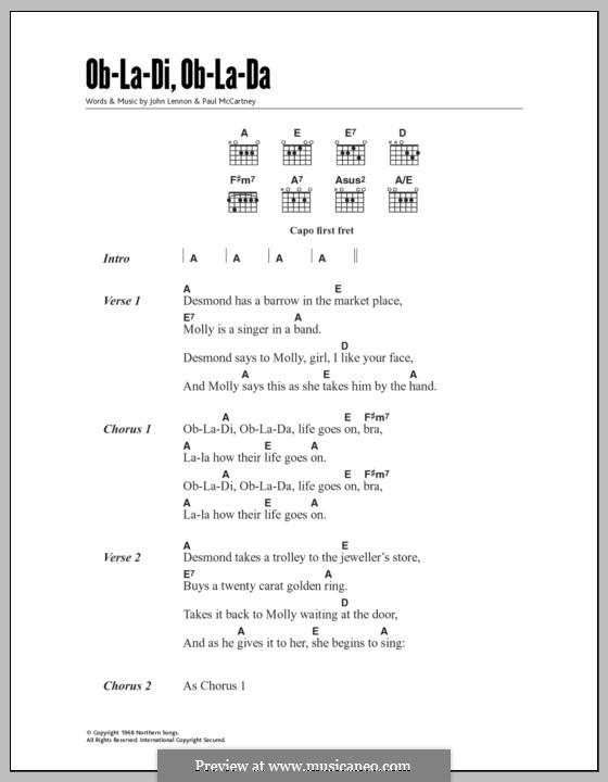 Ob-La-Di, Ob-La-Da (The Beatles): Lyrics and chords by John Lennon, Paul McCartney