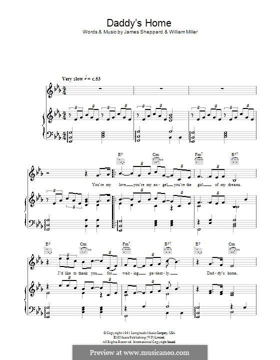 Daddy's Home (Jermaine Jackson): For voice and piano (or guitar) by James Sheppard, William Miller