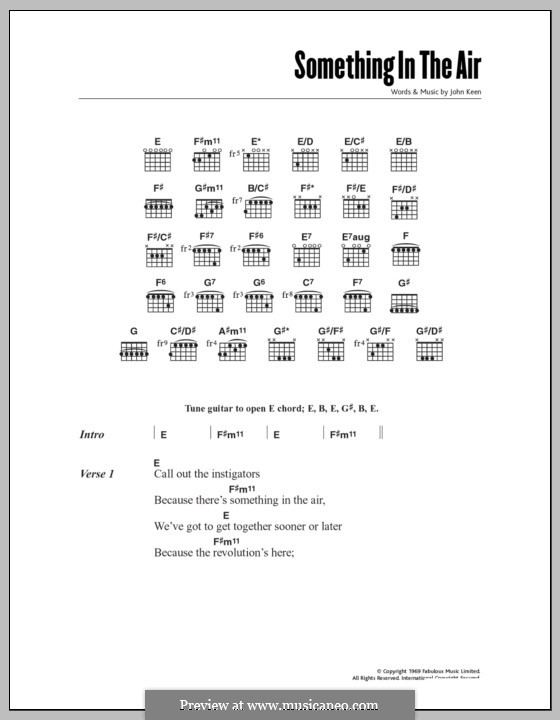 Something in the Air (Thunderclap Newman): Lyrics and chords by John Keen